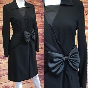 Moschino Couture Black Bow Collar Wool Midi Dress